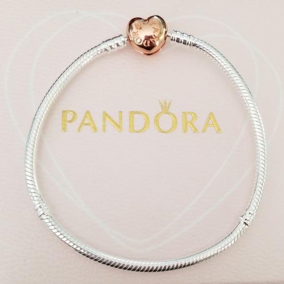 a2cd342f313 Authentic rose heart gold clasp charm bracelet Boutique